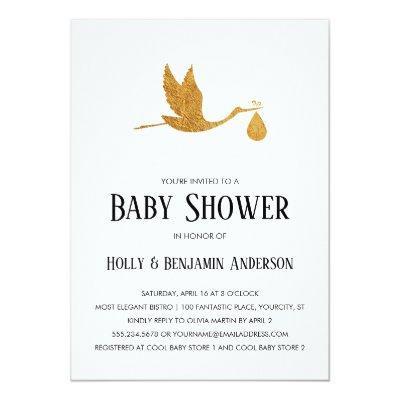 Couples Baby Shower Faux Gold Foil Stork w/ Bundle Invitations