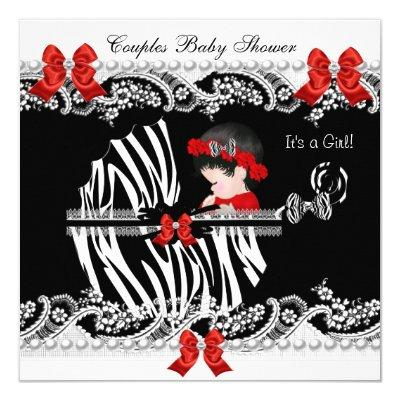 Couples Baby Shower Girl Zebra Red Lace Black Invitation