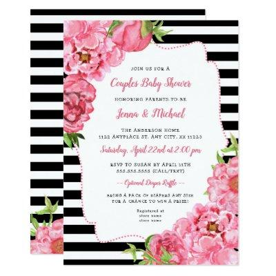 Couples Baby Shower Invitation, pink black floral Invitation