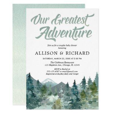Couples baby shower, Our greatest adventure rustic Invitation