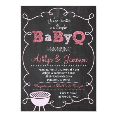 Couples BabyQ BBQ Baby Shower Invitations