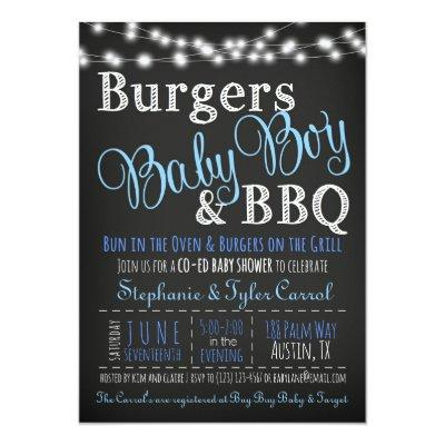 Couples Coed Burger Baby Boy BBQ Shower Invitations