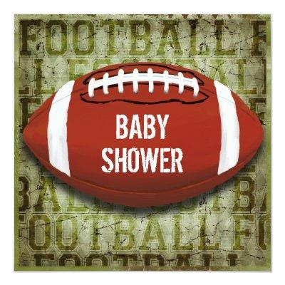 Couples Football Baby Shower Green Grunge Invitations