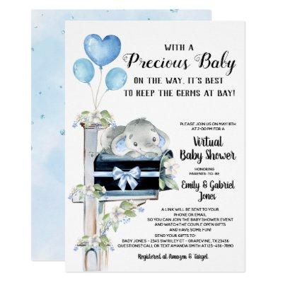 Covid Baby Shower Boy Elephant Invitation
