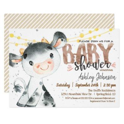 Cow Baby Shower Invitations, Boy, Farm Invitations