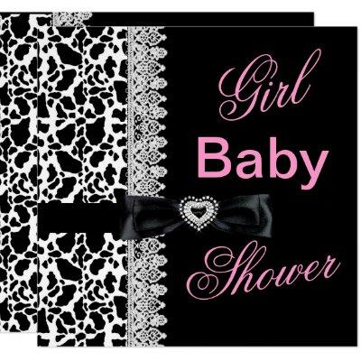 Cow black white Pink Girl Baby Shower Lace Invitations