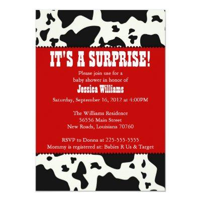 Cow Print Baby Shower Invitation