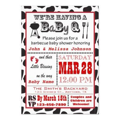 Cow Print Barbecue BaByQ Baby Shower Invitation