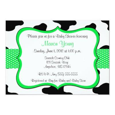 Cow Print Green or Birthday Invitations