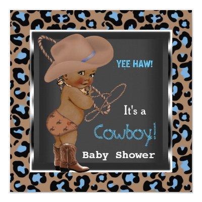 Cowboy Boy Blue Brown Ethnic Invitations