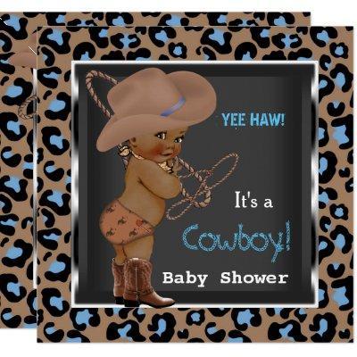 Cowboy Baby Shower Boy Blue Brown Ethnic Invitations