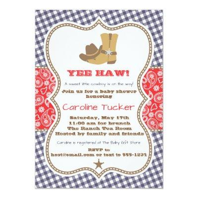 Cowboy Baby Shower Invitations Navy and Red Paisley