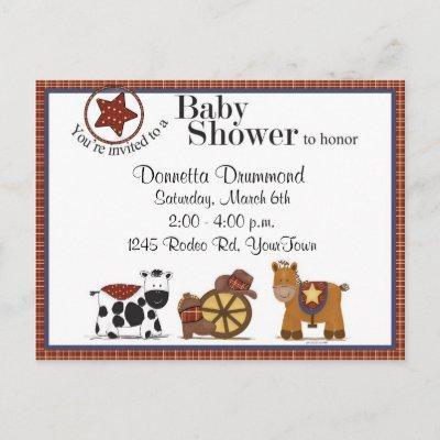 Cowboy/Cowgirl Baby Shower Invitation