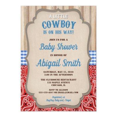 Bandana Baby Shower Invitations Baby Shower Invitations