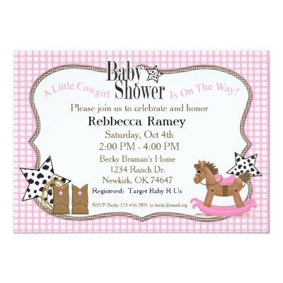 pink cowgirl baby shower invitations | baby shower invitations, Baby shower invitations