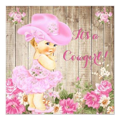 Cowgirl Pink Rustic Wood Girl Blonde Invitations