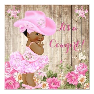 Cowgirl Baby Shower Pink Rustic Wood Girl Ethnic Invitations