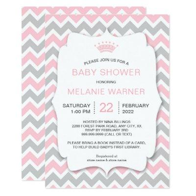 Crown Girl Bring a Book Baby Shower invites