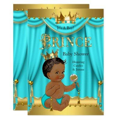 Crown Prince Baby Shower Gold Aqua Teal Ethnic Invitations