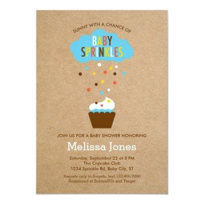 Cupcake Baby Sprinkle Baby Shower Invitations