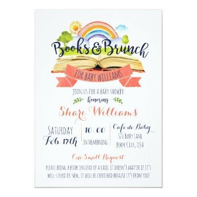 CUSTOM Books and Brunch Baby Shower Invitations