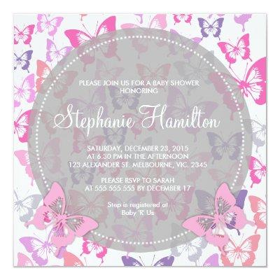 Custom butterflies baby girl shower invites