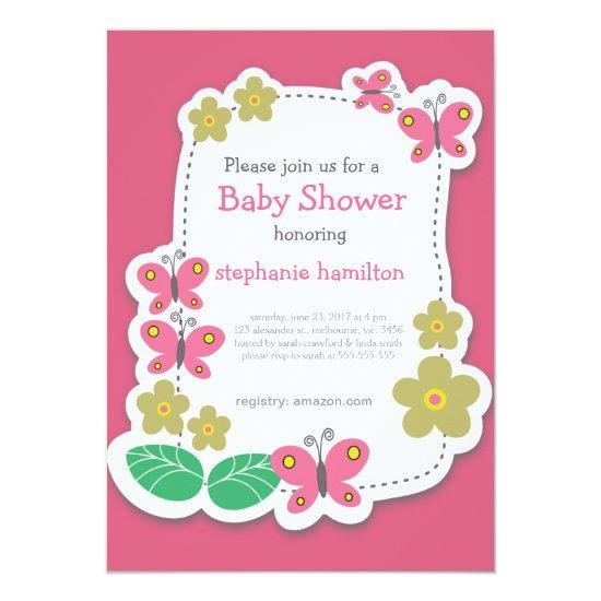 custom butterfly flower frame baby girl shower invitations