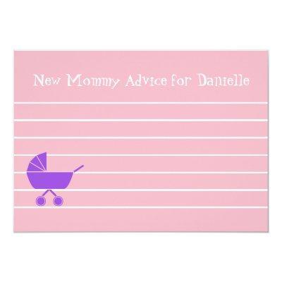 Custom Girl Baby Shower New Mommy Advice Cards