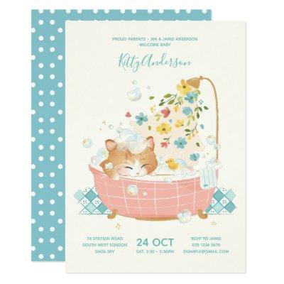 [Custom] Kitty Cat Flower Bubble Bath Baby Shower Invitation