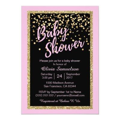Custom Trendy Pink Black Gold Glitter Baby Shower Invitations