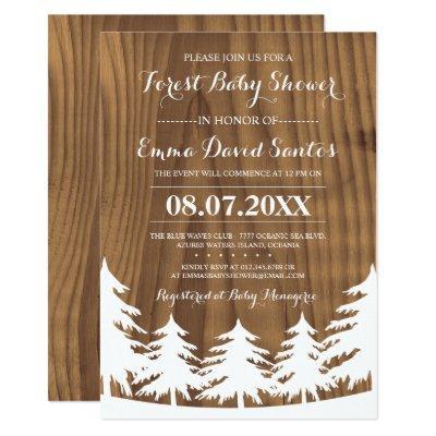 Custom White Forest Baby Shower Invites