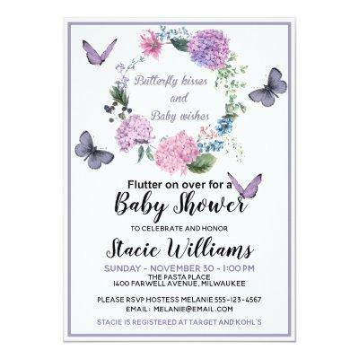 Customize Butterfly Kisses Baby Shower Invitations