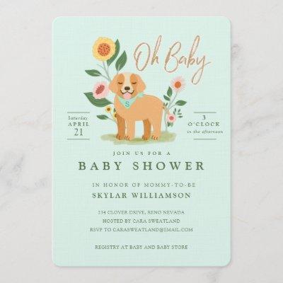 Cute Adorable Floral Golden Retriever Baby Shower Invitation