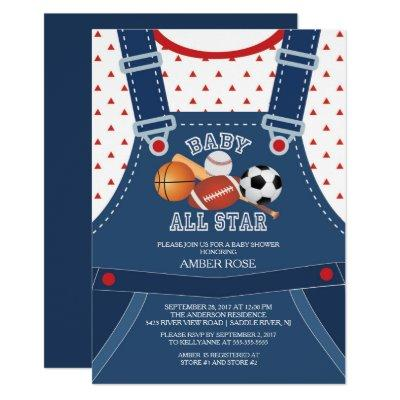 Cute ALL STAR SPORT Baby Shower Invitations
