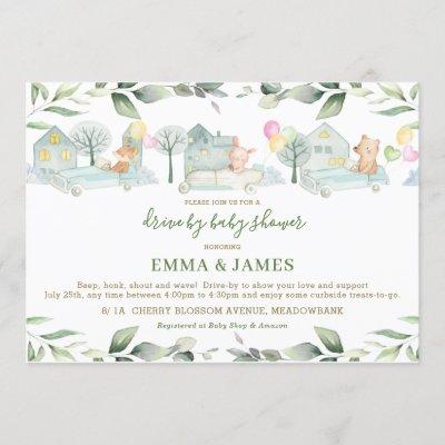 Cute Animals Cars Greenery Drive By Baby Shower Invitation