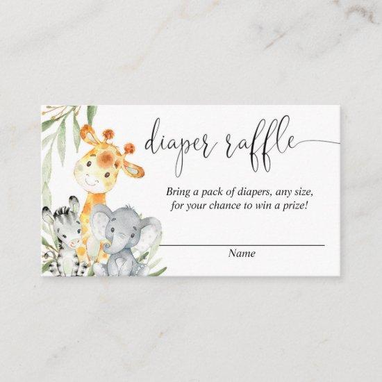 Cute animals gender neutral diaper raffle cards
