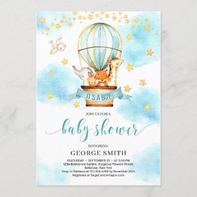 Cute animals hot air balloon boy baby shower invitation