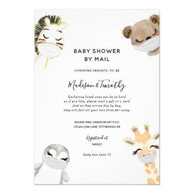Cute Animals in Masks Baby Shower by Mail Invitation