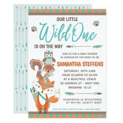 Cute Animals Totem Wild One Baby Shower Invitation