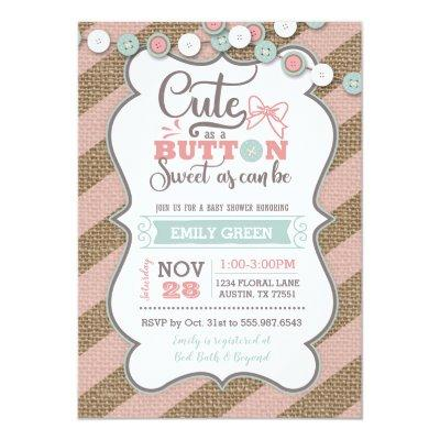 Cute As A Button Baby Shower Invitation Mint Pink