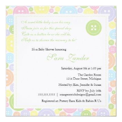 Cute as a Button Neutral Baby Shower Invitations