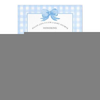 Cute Baby Blue Gingham with Bow Baby Shower Invitation