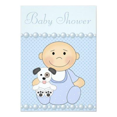 Cute Baby Boy & Puppy Blue Baby Shower Invitations