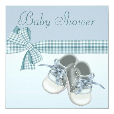 Cute Baby Boy Shower Blue Shoes & Elegant Ribbon Invitations