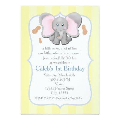 Cute Baby Elephant Birthday or Shower Invitations