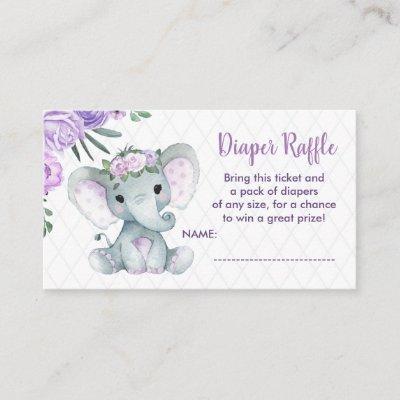 Cute Baby Elephant diaper raffle ticket, purple Enclosure Card
