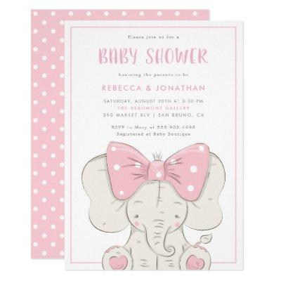 Cute Baby Elephant With Pink Bow Girl Baby Shower Invitations
