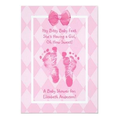 Cute Baby Girl Footprints Baby Shower Pink Ribbon Invitations