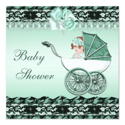 Cute Baby Girl in Green Carriage Baby Shower Invitation