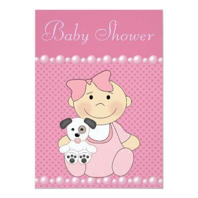 Cute Baby Girl & Puppy Pink Baby Shower Invitations